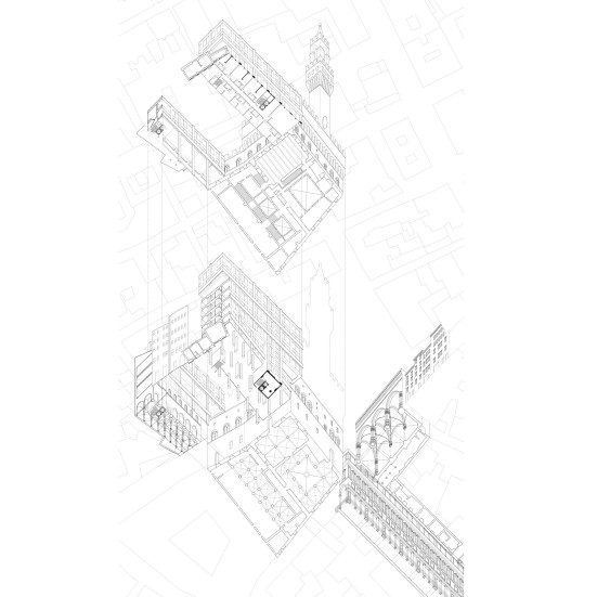 Wormseye (upview) axonometric of the Piazza