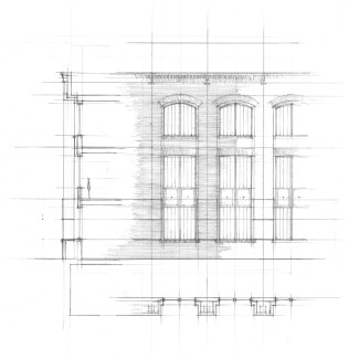 Wall section, elevation, and plan