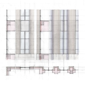 Curtainwall elevation, section, and plan study