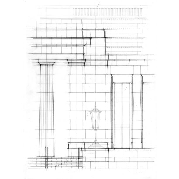 Enlarged elevation study of entry pavilion