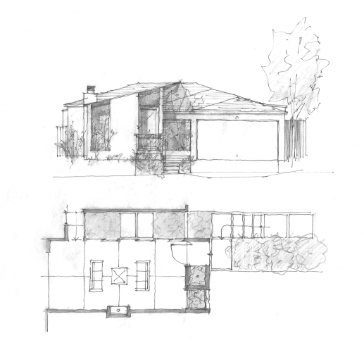 Street facade and floor plan study