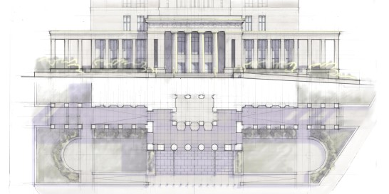 Elevation and plan study of entry pavilion, pergola, and plaza