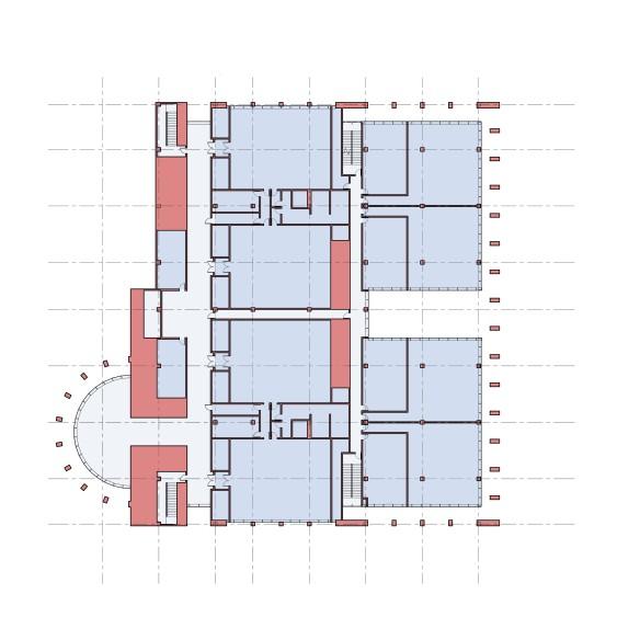 Plan at upper courtroom floor