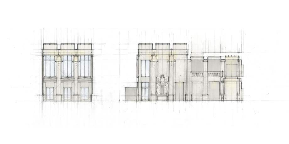 Interior elevation study of security lobby