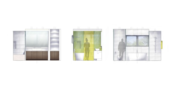 Interior elevations of master bathroom