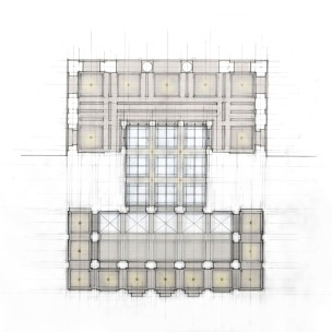Reflected ceiling plan study of entry pavilion and security lobby