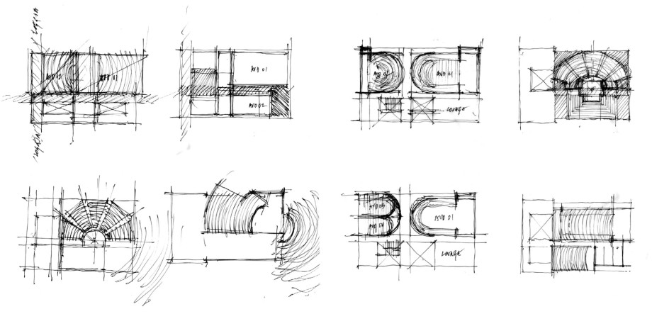 Plan studies of hall form
