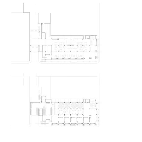 (top) Ground floor plan, (bottom) Typical Fermentation floor plan