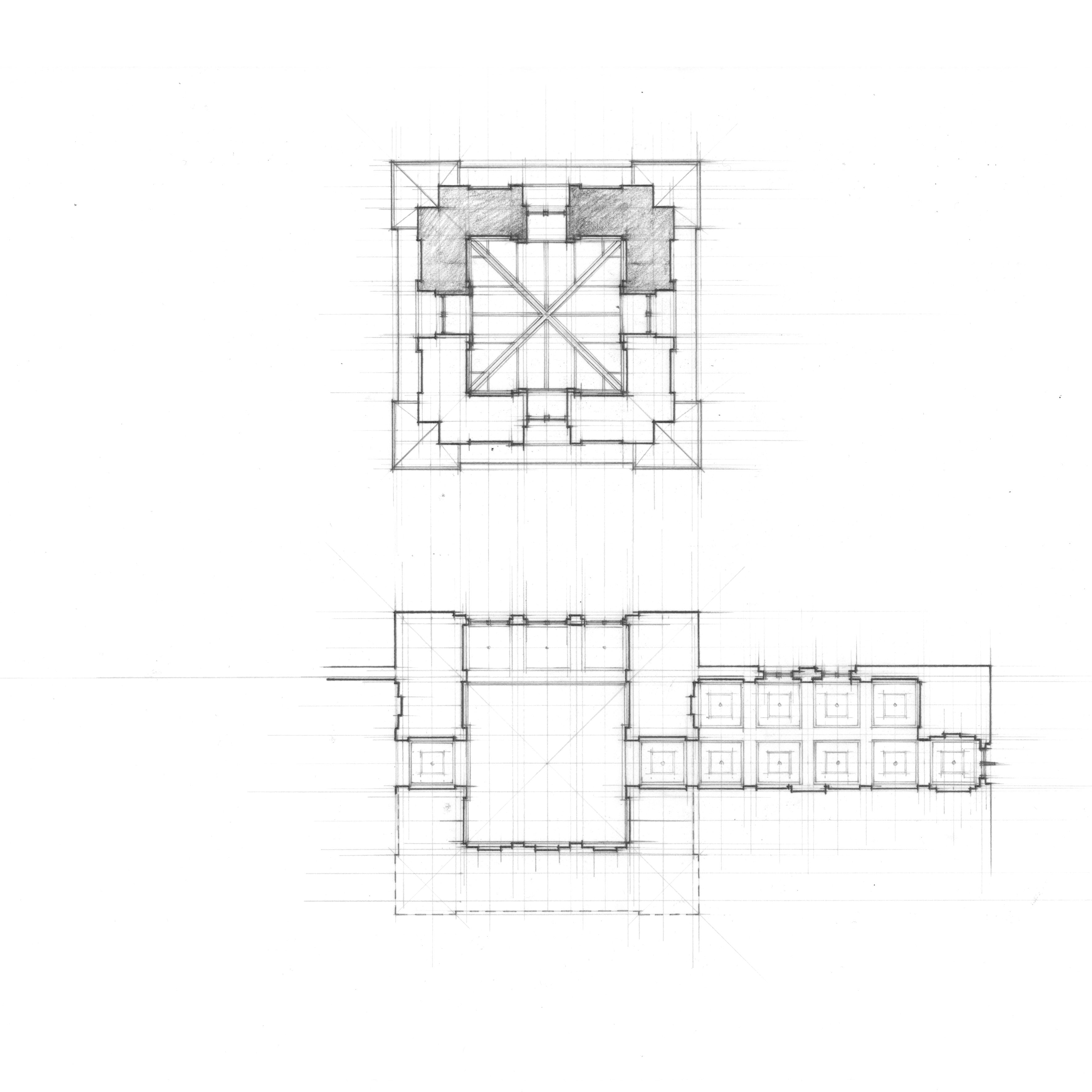 Federal Building And Courthouse Nicholas S Coleman Cupola Schematic Study Of Tower Courtroom Waiting Room