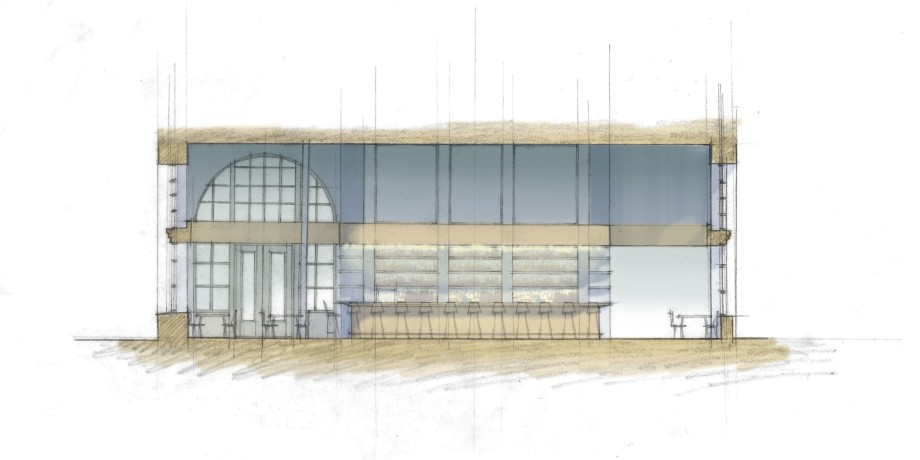 Schematic section through dining room.