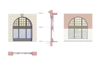 Window elevations, section, and plan, without shutter system.