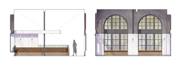 Interior elevations showing existing shotcrete and brick walls and wood window systems with new bar and built-in banquette seating.